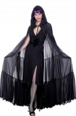 Mantello grande nero semitrasparente elegante