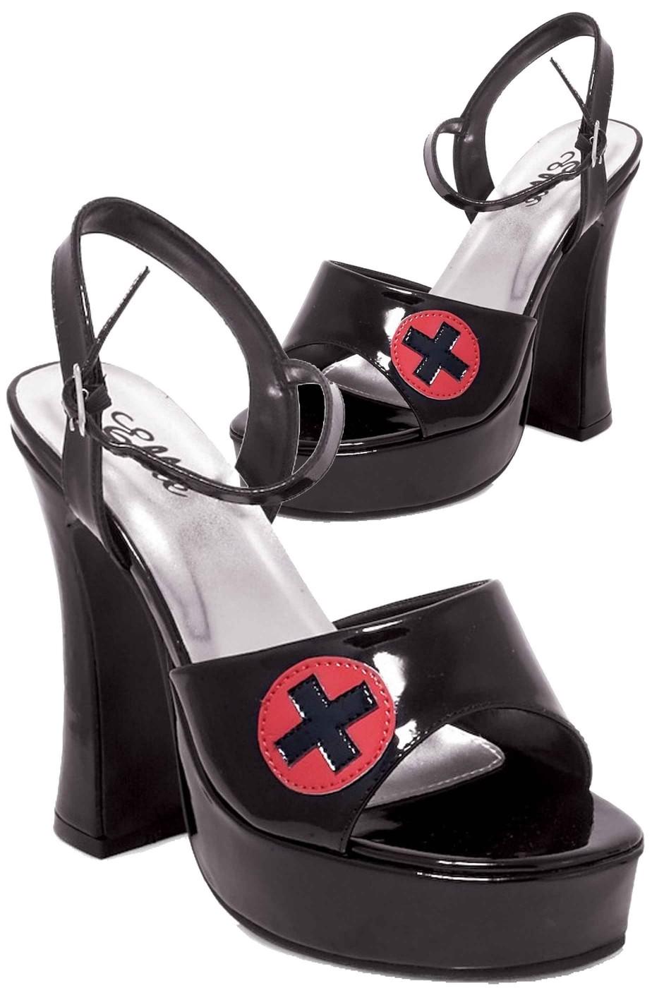 Scarpe nere sandali donna da infermiera sexy