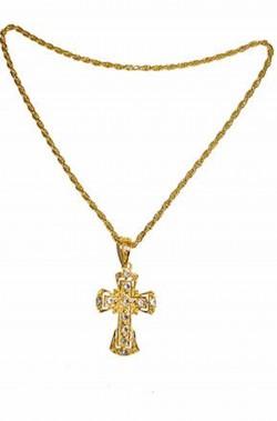 Croce con collana color oro e pietre finte per papa cardinale vescovo