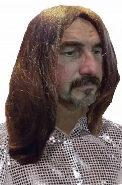 Parrucca anni 70 lunga marrone castana