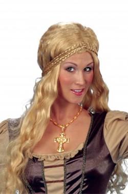 Parrucca donna bionda lunga acconciatura medievale fantasy