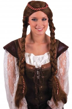 Parrucca medievale con trecce lunghe castana