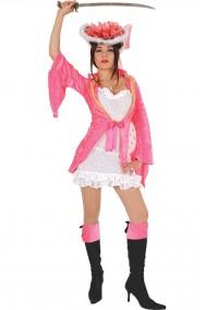 Vestito di carnevale da piratessa rosa adulta