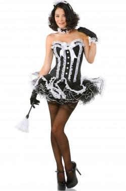 Vestito di carnevale da cameriera sexy bianco e nero donna