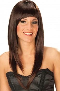 Parrucca donna castana lunga liscia con frangia sbarazzina