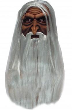 Maschera di carnevale vecchio con capelli saruman