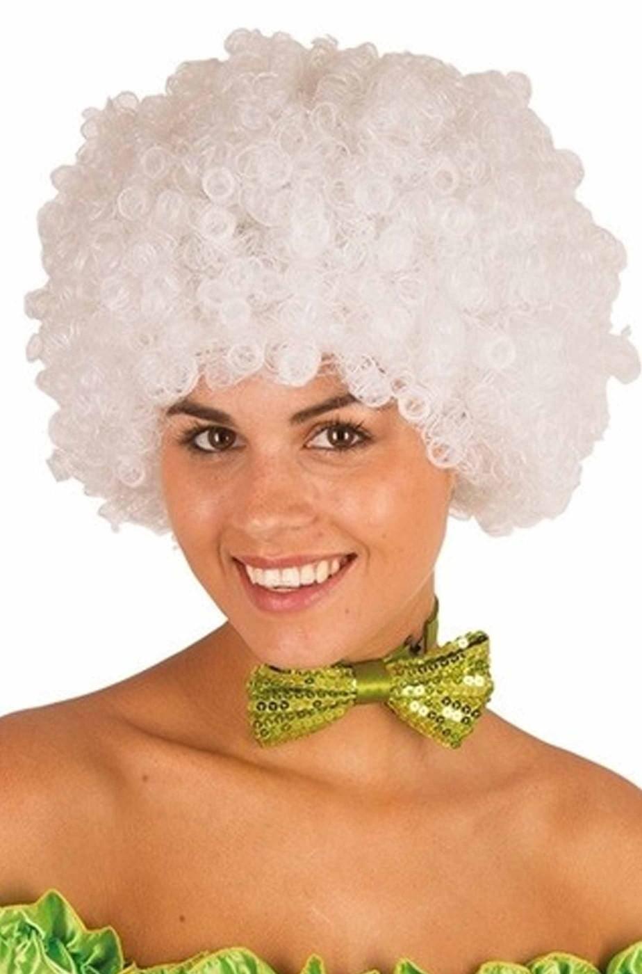 Parrucca afro anni 70 bianca