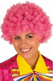 Parrucca afro con ricci rosa