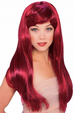 Parrucca di carnevale rossa con striature nere