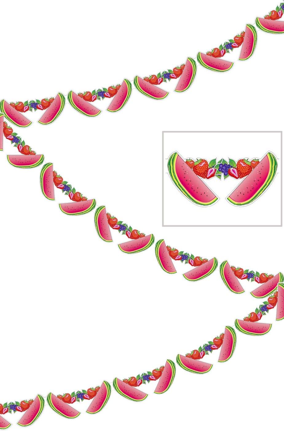 Striscione per festa tropicale frutta anguria lungo 3 metri