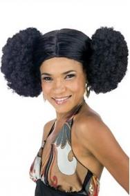 Parrucca di carnevale nera riccia afro anni 70 con puf