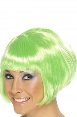Parrucca verde fluo corta liscia a caschetto con frangia