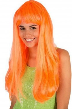 Parrucca arancione liscia lunga con frangia pony neon