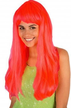 Parrucca rosa lunga liscia con frangia pony neon