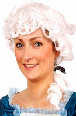 Parrucca bianca Mozart con codino e boccoli
