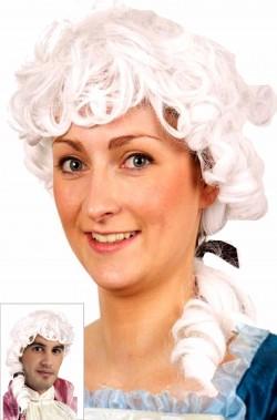 Parrucca bianca stile 700 veneziano Mozart con codino e boccoli