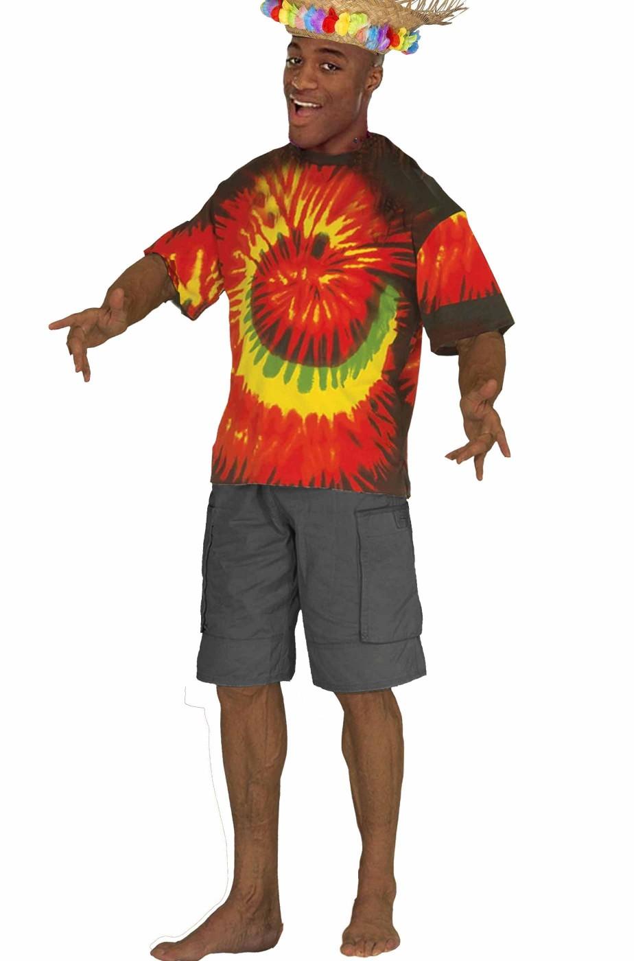 T-shirt multicolore stile hawaiiano giamaicano