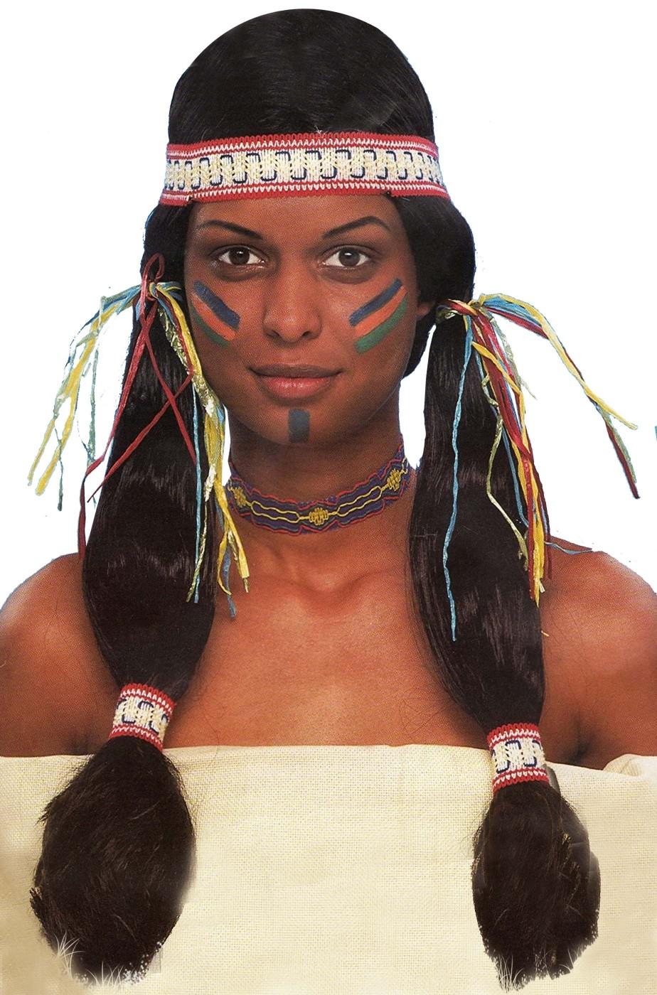 Parrucca nera con trecce da indiana americana pellerossa Apanachi