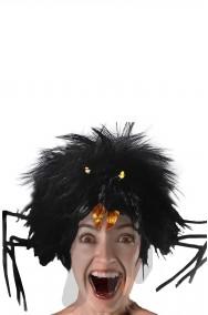 Parrucca nera scalata da donna ragno
