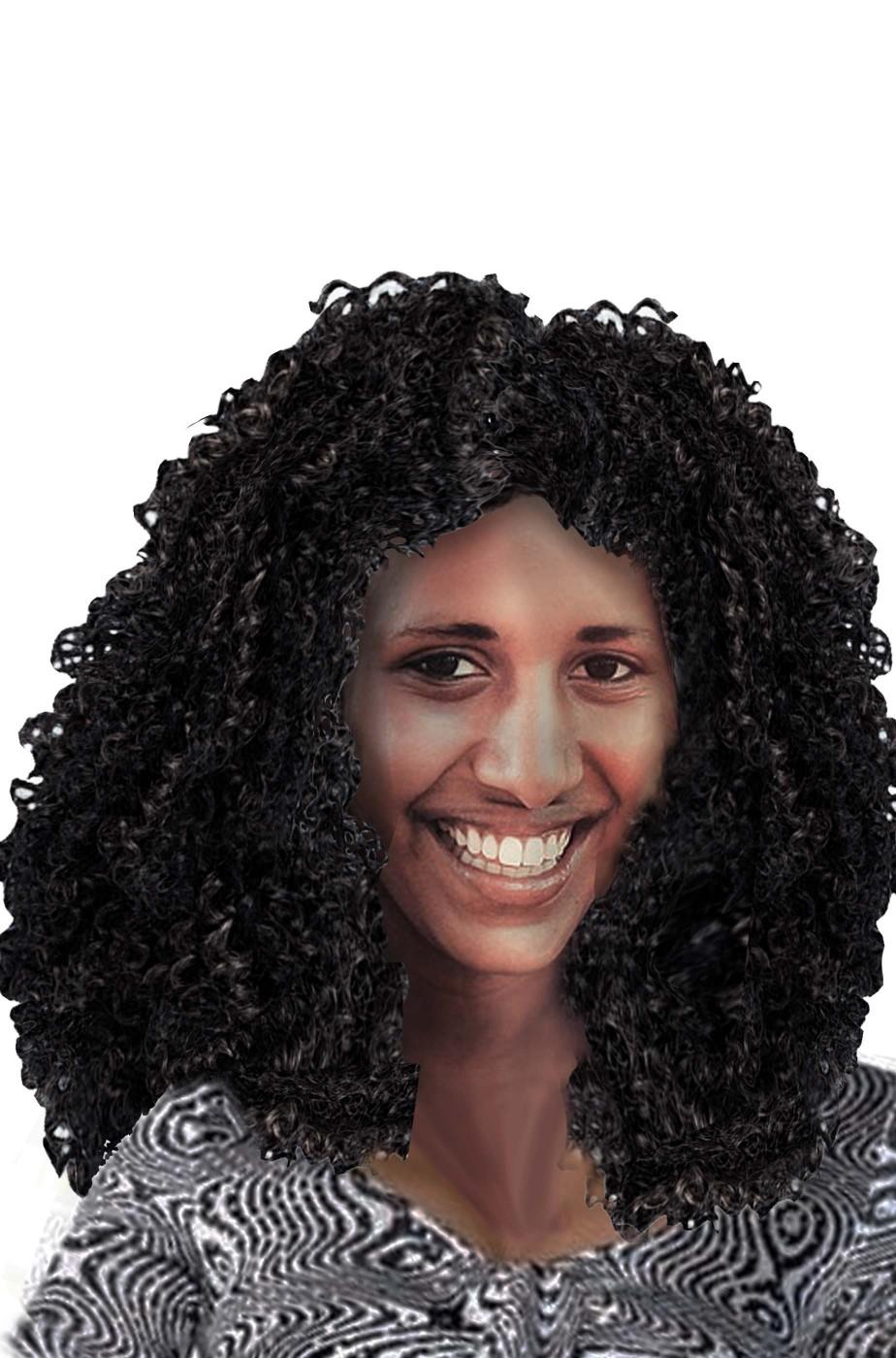 Parrucca nera riccia media folta afro anni 70