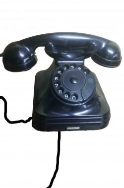 Telefono storico nero di bachelite d'epoca TETI filo nero corrugato