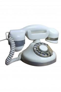Telefono d'epoca a disco bianco di bachelite