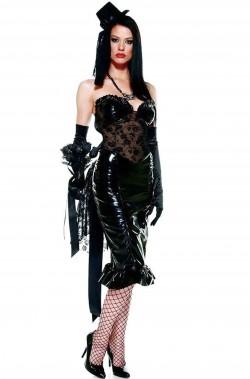 Vestito gotico donna nero con vinile e cul de paris