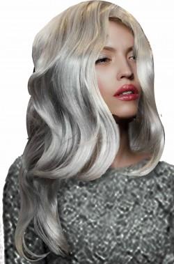 Parrucca grigia lunga morbida di qualita'