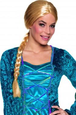 Parrucca bionda con treccia stile medievale frozen