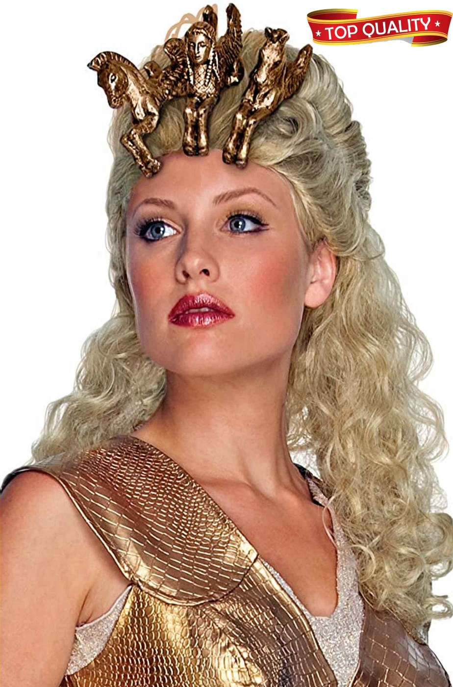 Parrucca bionda con cavalli alati da Athena dea greca alta qualita'