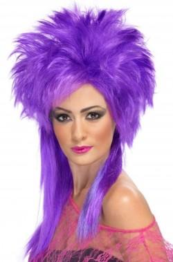 Parrucca donna lunga viola punk scalata anni 80