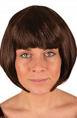 Parrucca castana liscia a caschetto anni 20
