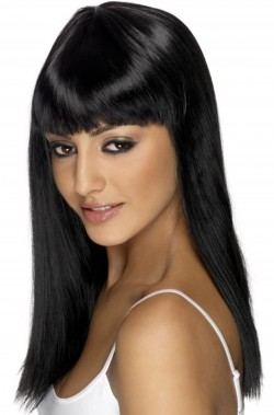 Parrucca nera liscia con frangia glamourama