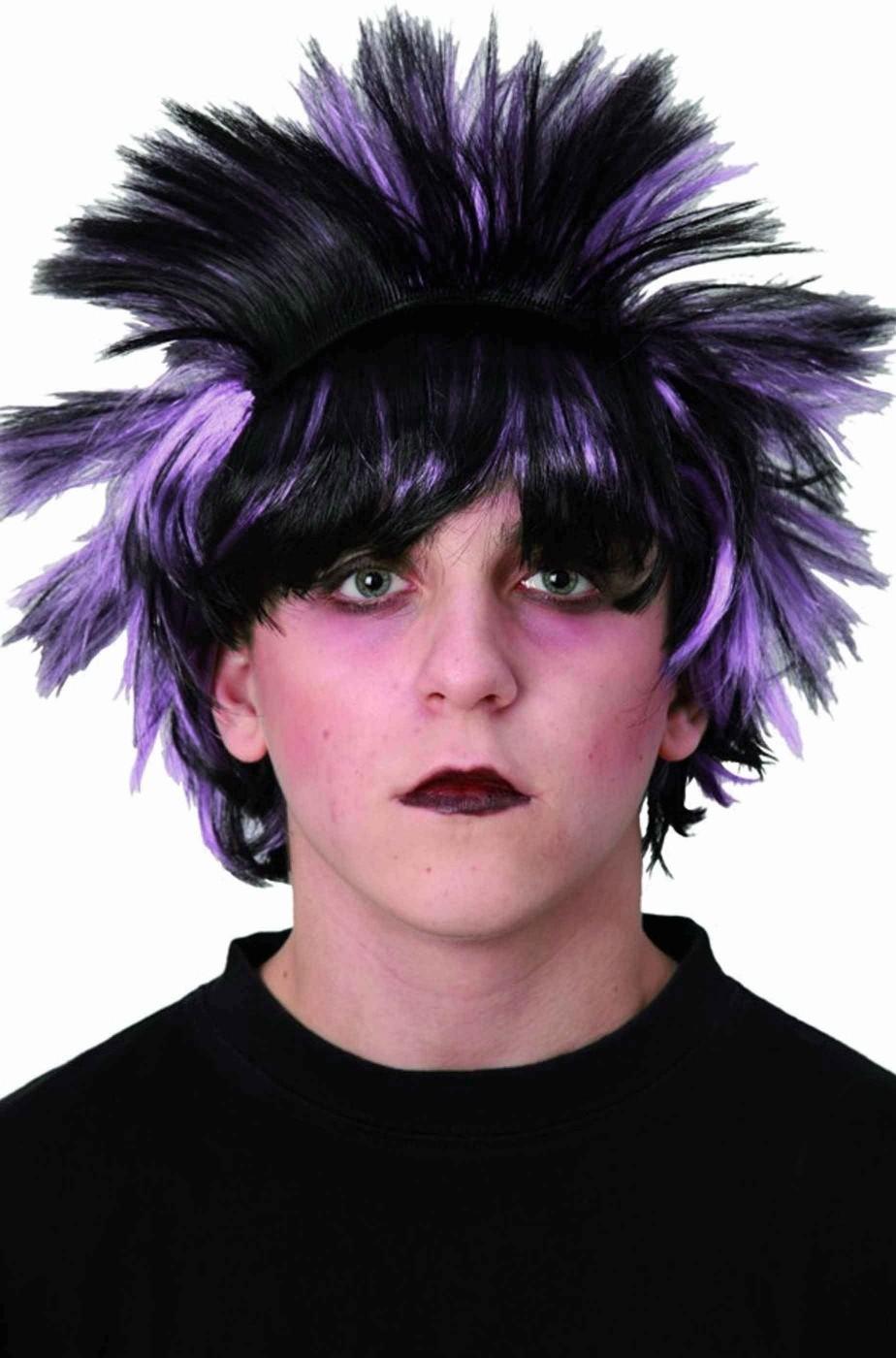 Parrucca nera scalata anni 80 con meches emo dark gotico