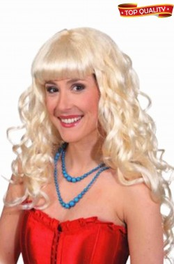 Parrucca donna bionda Lunga mossa con frangia top quality
