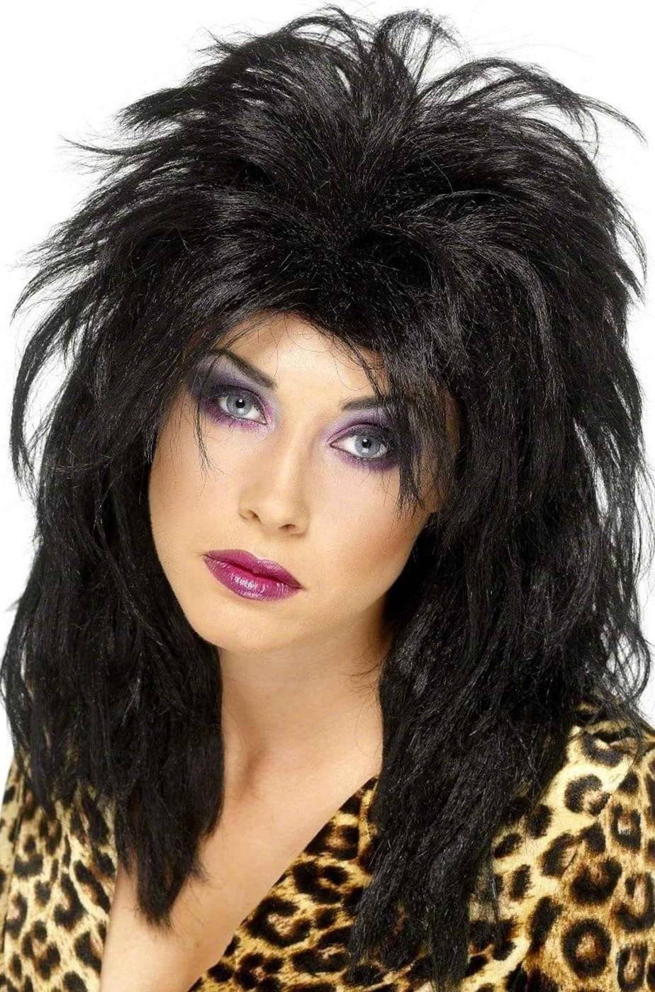 Parrucca nera liscia scalata anni 80 senza frangia wham lady