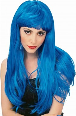 Parrucca donna blu lunga liscia con frangia