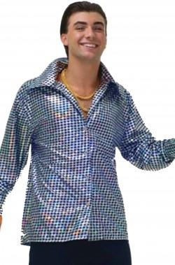 Camicia anni 70 con colletto a punte lunghe in lame'. Taglia unica uomo adulto.