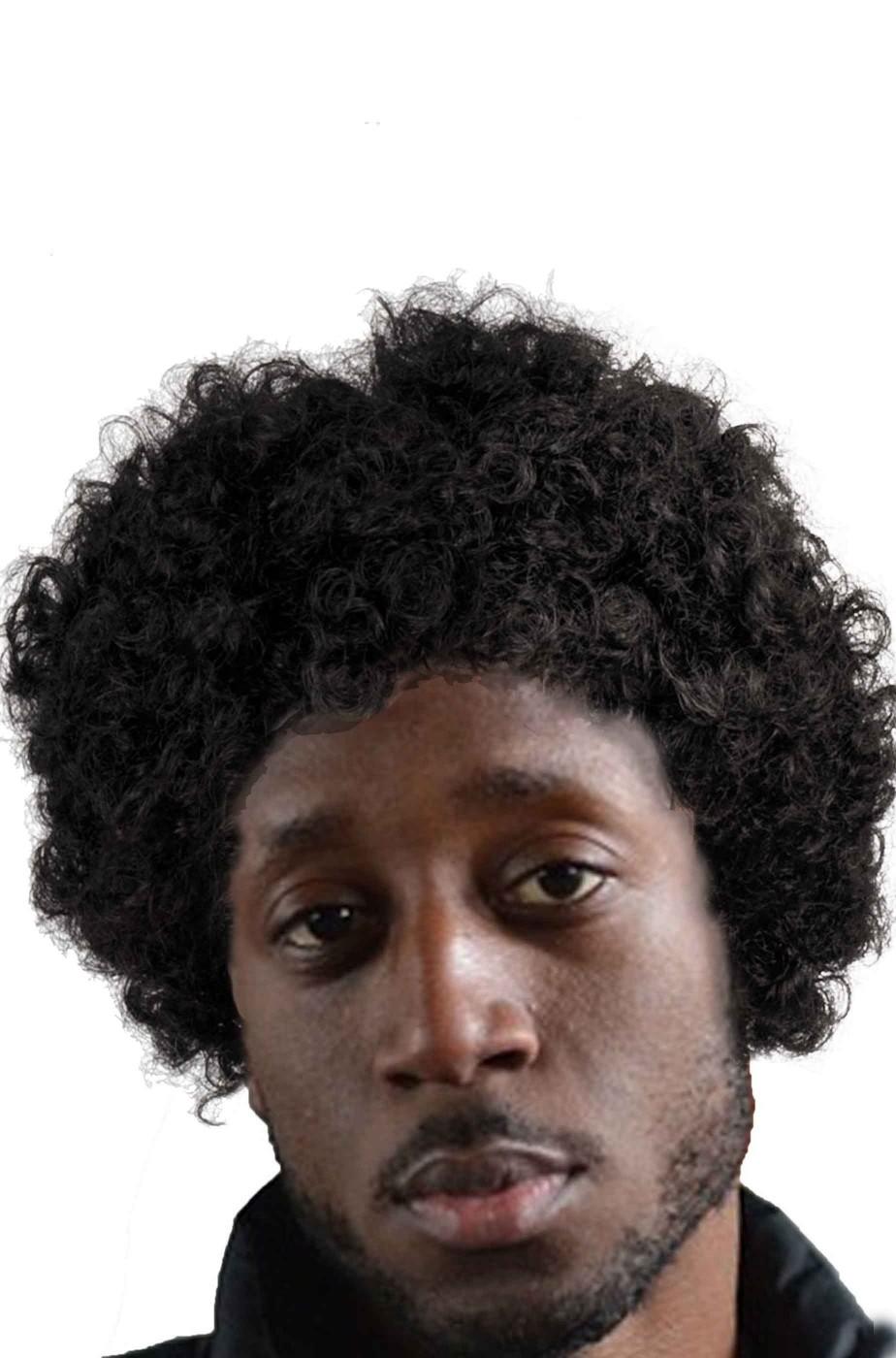 Parrucca anni 70 afro corta nera anche per pulp fiction