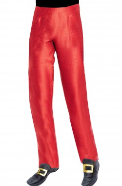 Pantaloni uomo rossi di raso con elastico in vita