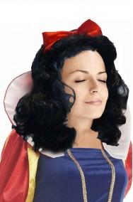 Parrucca donna nera mossa lunga con fiocco rosso biancaneve