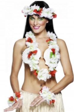 Set per festa hawaiana in offerta bianco ghirlanda e corona