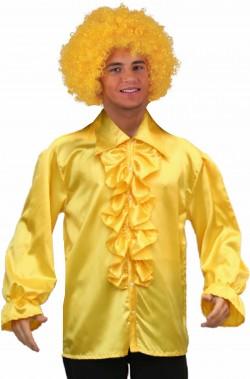 Camigia gialla anni 70 con colletto lungo e jabot