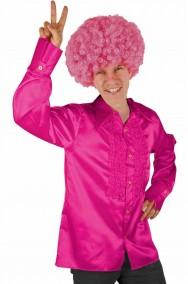 Camicia rosa da uomo anni 70 con colletto a punte lunghe