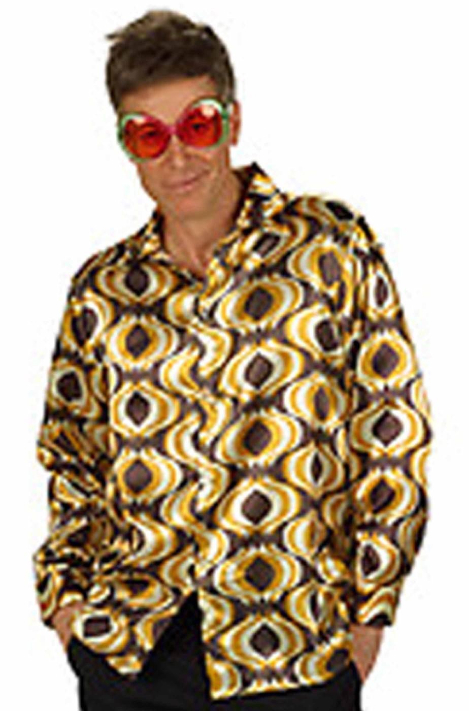 Camicia gialla e nera da uomo anni 70 psichedelica