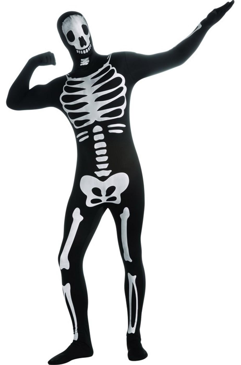 tuta da scheletro vestito halloween adulto completo