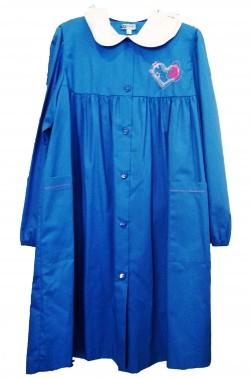 Grembiule scuola da bambina azzurro con polsi elastici