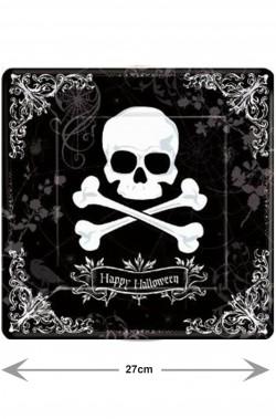 Piatti di carta neri quadrati piani Halloween con teschi