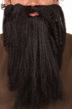 Barba finta nera lunga liscia da nano o mago
