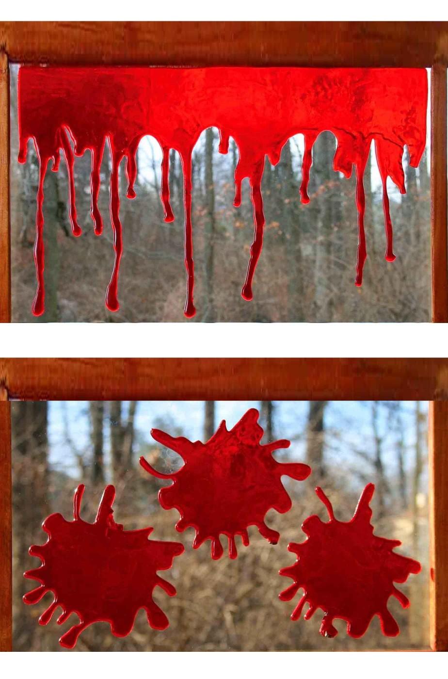 Decorazione Halloween da finestra pacchetto chiazze di sangue gel